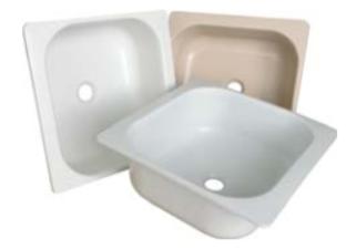 Пластмасова мивка 40/40 - бяла, мрамор и бежова